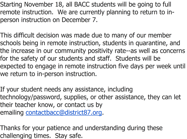BACC Important Update