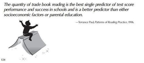 the quantity of trade book reading is the best single predictor of test score performance and success in schools
